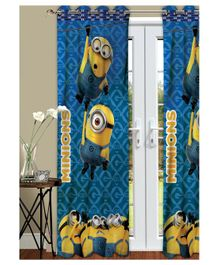 Athom Trendz Minions Kids Long Door Curtain Pack of 2 - Blue