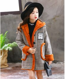 Pre Order - Awabox Houndstooth Print Full Sleeves Hooded Coat - Brown