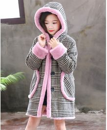 Pre Order - Awabox Houndstooth Print Full Sleeves Hooded Coat - Pink