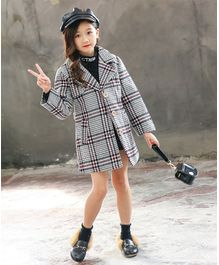 Pre Order - Awabox Checkered Full Sleeves Coat - Grey