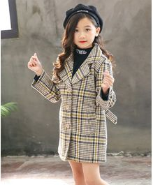 Pre Order - Awabox Checkered Full Sleeves Coat - Brown