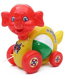 Luvely - Funny Elephant Musical Pull Along Toy Multi Color