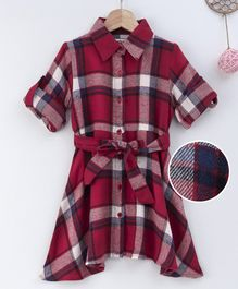 Soul Fairy Full Sleeves Plaid Dress With Tie Up Detail Dress - Maroon