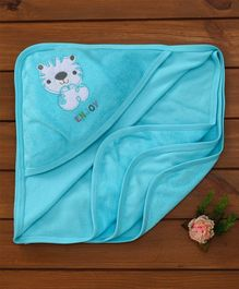 Simply Hooded Towel Animal Embroidery - Aqua Blue