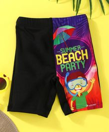 Rovars Swimming Trunks Summer Beach Party Print - Black & Purple