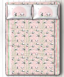 Silverlinen Panda Village Double Bedsheet with Two Pillow Covers - Pink