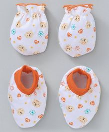 Babyhug Cotton Mittens & Booties Set Animal Print - White Orange
