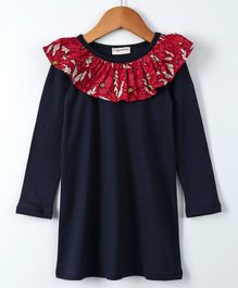 Crayonflakes Full Sleeves Flower Print Frilled Neck Dress - Navy Blue