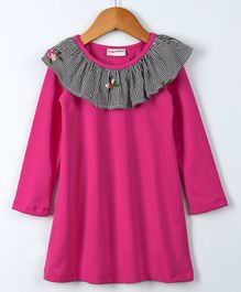 Crayonflakes Full Sleeves Striped Frilled Neck Dress - Pink