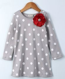 Crayonflakes Full Sleeves Polka Dot Print Flower Applique Dress - Grey
