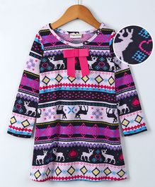 Crayonflakes Full Sleeves Abstract Print Dress - Multi Color