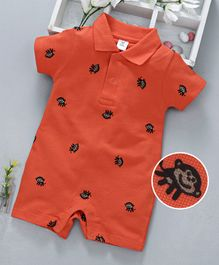 ToffyHouse Collar Neck Romper Monkey Print - Orange