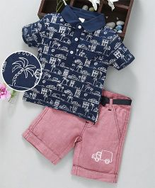 ToffyHouse Half sleeves Tee & Shorts  Palm Tree Print - Navy Blue