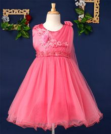 Mark & Mia Flower & Pearl Applique Sleeveless Net Dress - Pink