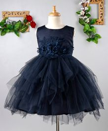 Mark & Mia Sleeveless Flowers Embellished Net Dress - Navy