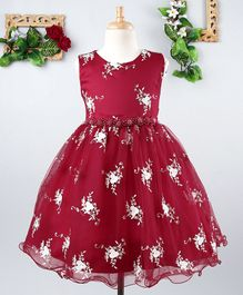 Mark & Mia Flower Embroidery Sleeveless Net Dress - Maroon