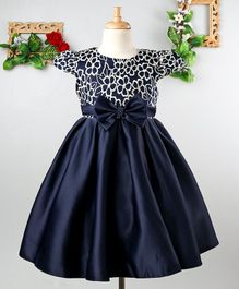 Mark & Mia Flowers Embroidered Cap Sleeves Dress - Navy