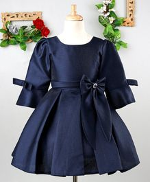 Mark & Mia Solid Three Fourth Sleeves Pleat Dress - Navy