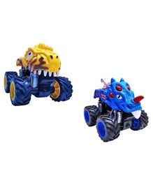 Emob 2 High Speed Friction Powered Dinosaur Car Toy Set of 2 - Blue Yellow