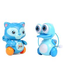 Emob Duck & Squirrel Shaped Friction Powered Wind Up Toys Set of 2 - Blue