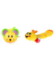 Emob Caterpillar & Mouse Friction Powered Moving Wind Up Toy - Pack of 2 (Color May Vary)