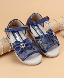 Cute Walk by Babyhug  Party Wear Sandals With Bow Motif - Navy Blue