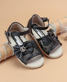 Cute Walk by Babyhug  Party Wear Sandals With Bow Motif - Black