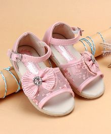 Cute Walk by Babyhug  Party Wear Sandals With Bow Motif - Pink