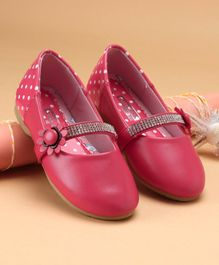 Cute Walk by Babyhug Party Wear Belly Shoes Studded Detailing - Pink