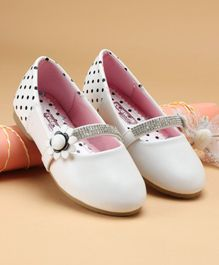 Cute Walk by Babyhug Party Wear Belly Shoes Studded Detailing - White