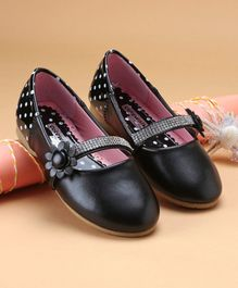 Cute Walk by Babyhug Party Wear Belly Shoes Studded Detailing - Black