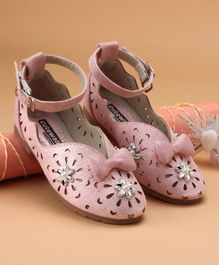 Cute Walk by Babyhug Party Wear Belly Shoes Bow Applique - Pink