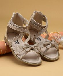 Cute walk by Babyhug Party Wear Sandals Bow Applique - Golden