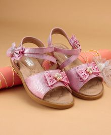 Cute walk by Babyhug Party Wear Sandal Bow Applique - Pink