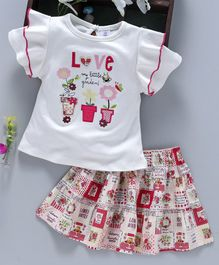 ToffyHouse Short Sleeves Top & Skirt Garden Embroidery -  White & Red