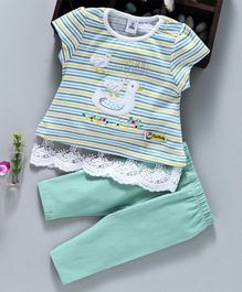 ToffyHouse Short Sleeves Stripe Top And Leggings Duck Patch - Sea Green White