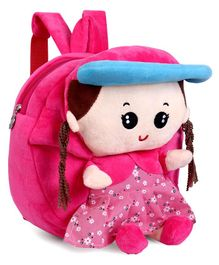 School Bag Cartoon Girl Motif Pink - Height 9.84 Inches