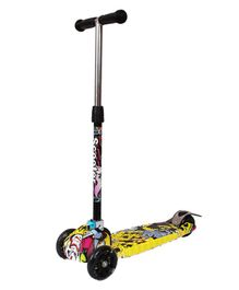 Cosmic Graffiti 3 Wheel Scooter With Music & LED Lights - Yellow