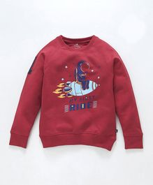Kiddopanti Rocket Print Full Sleeves Sweatshirt - Red