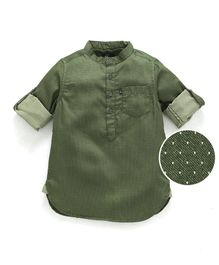Kiddopanti Full Sleeves Dobby Print Shirt - Green