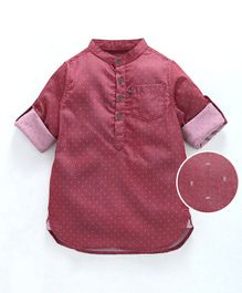 Kiddopanti Full Sleeves Dobby Print Shirt - Pink
