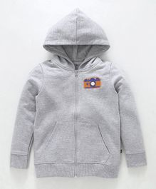 Kiddopanti Camera Print At The Back Full Sleeves Hooded Jacket - Grey