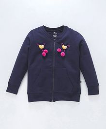 Kiddopanti Front Zip Closure Heart Applique Full Sleeves Jacket - Navy Blue