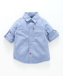 Kiddopanti Back Car Print Full Sleeves Shirt - Blue