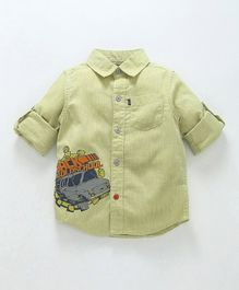 Kiddopanti Car Print Full Sleeves Shirt - Green