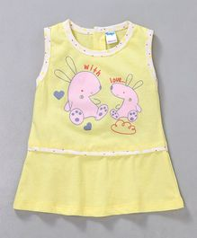 Tango Sleeveless Frock Bunny Print - Light Yellow