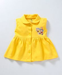 Cucumber Collar Neck Front Open Frock - Yellow