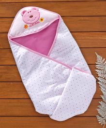 Hooded Wrapper With Bear Patch - Pink