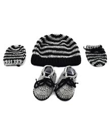 Magic Needles Strips Cap & Booties With Mittens - Black & Grey