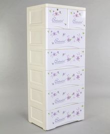 7 Compartment Storage Cabinet With Wheels Floral Print - White